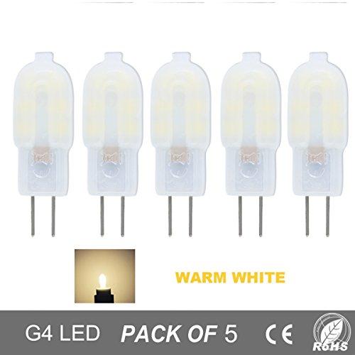10w Ersatz (5er Pack G4 2W LED Lampen,150LM,Ersatz für 10W Halogenlampen,12V AC / DC,Warmweiß,360°Abstrahlwinkel,LED Birnen,LED Leuchtmittel)