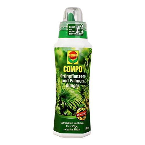 COMPO Grünpflanzen- und Palmendünger für alle Zimmer-, Balkon- und Terrassenpflanzen, Spezial-Flüssigdünger mit extra Kalium und Eisen, 500 ml