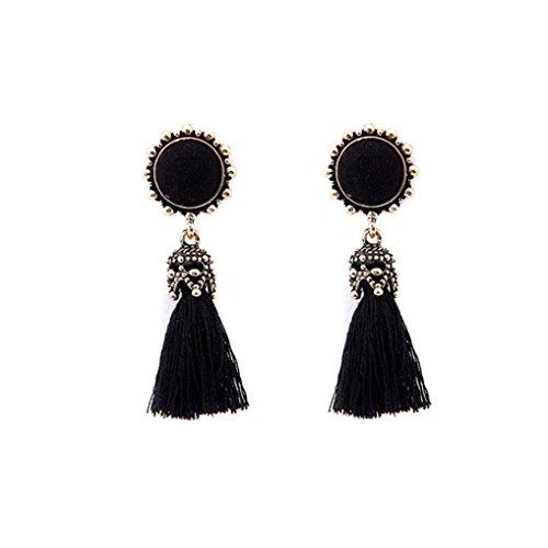Pendientes Mujer Flecos, Zolimx Moda Vintage Estilo Cristal Dangle Pendientes Stud Parota Jewelry (Negro)