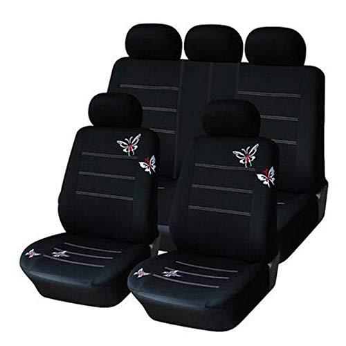 Coprisedili per auto ricamati a farfalla ricamati di accessori per auto per interni auto universali in forma copre i coprisedili neri per la maggior parte delle auto