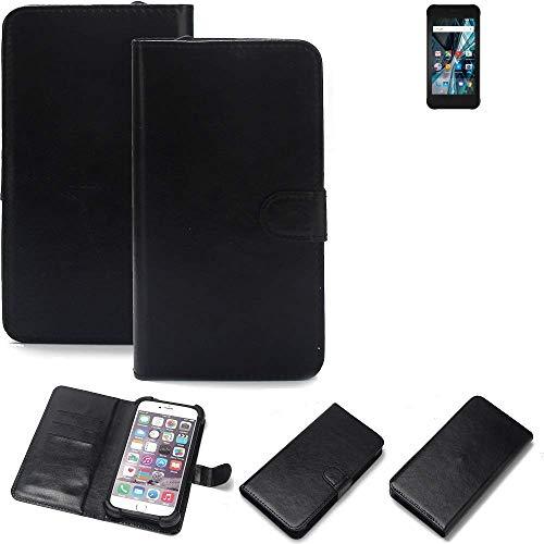 K-S-Trade 360° Wallet Case Handyhülle Archos Sense 47X Schutz Hülle Smartphone Flip Cover Flipstyle Tasche Schutzhülle Flipcover Slim Bumper schwarz, 1x