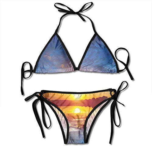 Twilight Rose Cup (Women's Swimsuit Two Pieces Bikini Set, Dreamy Sunset Scenery with Reflection On The Lake Dramatic Dusk Twilight,Swimwear Bathing Suits)