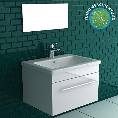 Alpenberger Badmöbel-Set 60 cm breite   Unterschrank mit Soft-Close Schublade   Nano-Beschichtigung Aufsatz Waschbecken mit Überlauf   Komplett Set mit Spiegel und alle Motagelemente