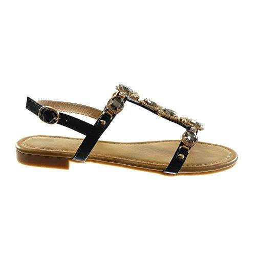 strap Diamante Tacco 5 Nero Alla Modo Lucido Di Cm Sandalo Scarpe Strass Caviglia Donna Gioielli 1 Cinturino Angkorly 6IUq4R