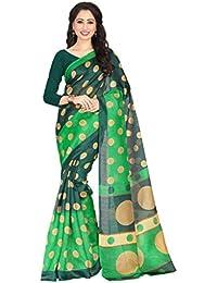 Venisa Women's Green Printed Bhagalpuri Cotton Silk Saree