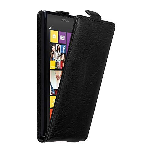 Cadorabo Nokia Lumia 1020 Custodia di Finta-Pelle Flip in Nero di Notte – Protezione in Stile Flip di Similpelle Fine – Portafoglio Cover Case Wallet Book Etui Protezione