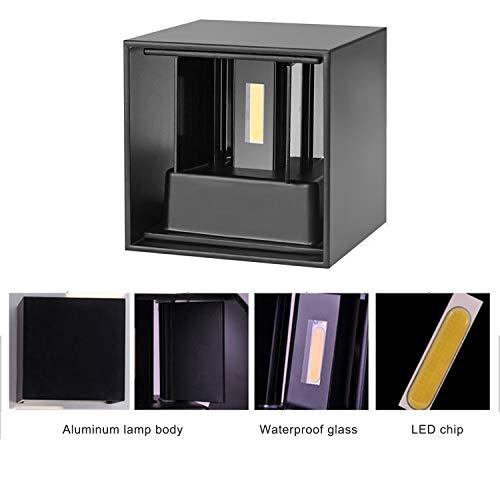 TVGO – Lampada da parete per interni/esterni, moderna, illuminazione LED da parete con angolo di irradiazione regolabile, IP 65, impermeabile, 3000 K, luce bianca calda (7W nero), alluminio, 7 W - 6