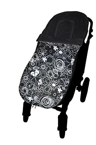 Tris & Ton Fußsack-Kindersitz universal für Bebe Modell Muster Schwarz, Fußsack Kinderwagen mit wasserdichter Fleece Winter Fußsack (trisyton) (Tri-klappe)