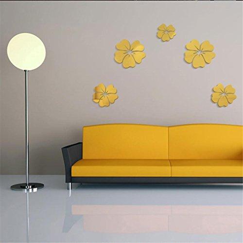 Pegatina de pared vinilo adhesivo decorativo para cuartos,Nuevo estilo de espejo flores extraíbles calcomanía de arte de vinilo de pared etiqueta casera decoración (Oro)