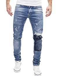 Merish Jeans Destroyed Herren Used Look Patched Blue Hose Chino Denim 2071