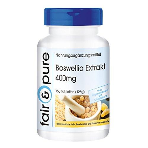 Estratto di boswellia 400mg, standardizzato al 65% di acidi boswellici, vegan, 150 compresse