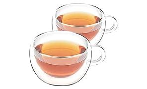 VAHDAM - Bicchiere borosilicato a doppia parete (2 pezzi) - Capacità di 6,75 oz, tazze trasparenti - DURABLE & STYLISH - 2 pezzi, set di tazze da tè - tazza per microonde e frigorifero (SHIMMER)