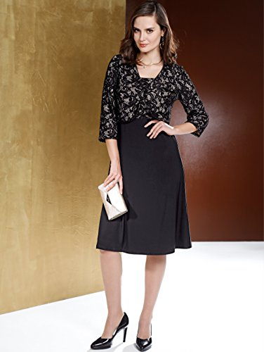 Damen Kleid mit Bolero mit Spitze und Pailletten by MONA Schwarz-Beige