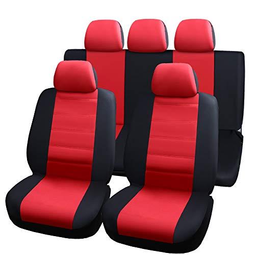 Autositzbezug Rutschfeste und atmungsaktive Van Soft Airbag Kompatibel Full Set Car Care Cover (Schwarz und Rot) 2009 Vw Van