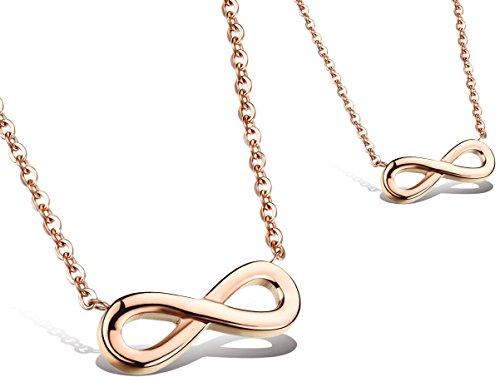 Kim Johanson Damen Freunde Halskette mit Anhänger *Infinity* aus Edelstahl in Roségold Unendlichkeit Zeichen Best Friends inkl. Schmuckbeutel (Rose Gold Infinity-halskette)