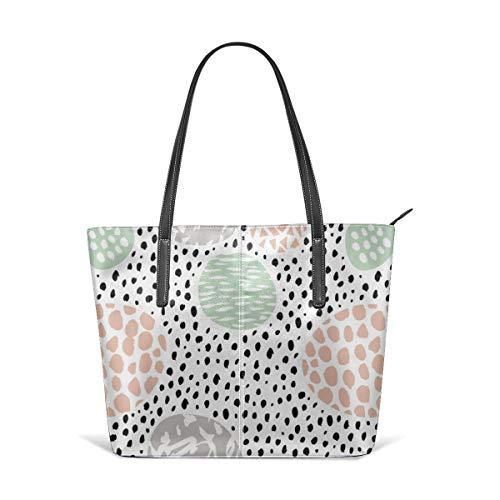 Frauen weiches Leder Tote Umhängetasche Kreise Punkte und Flecken Raw Abstract Pinselstriche Memphis skandinavischen Stil Mint Coral Fashion Handtaschen Satchel Geldbörse