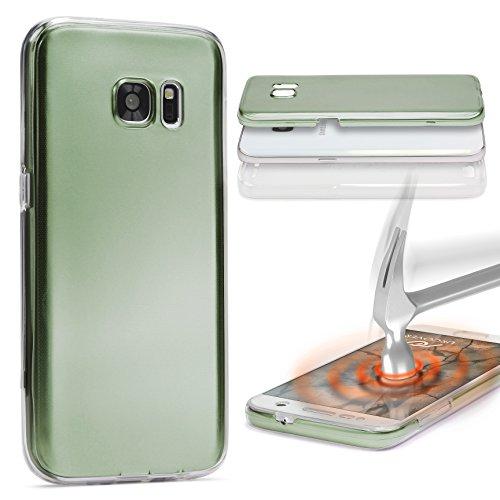 UrCover Custodia 360 Gradi Metal Look | Sony Xperia M5 | Cover Completa Morbida in Due Parti Fronte Retro | Protezione Integrale 3D Salva Schermo in Verde
