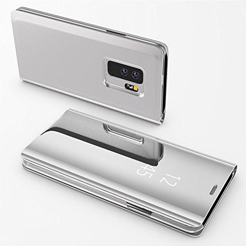 HUDDU Compatible for Schutzhülle Samsung Galaxy S9 Spiegel Hülle Silber Flip Ledertasche SlHandyhülle Leder Tasche Clear Wallet Case Cover Build-Stand Brieftasche Überzug Mirror Hardcase Klapphülle