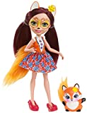 Enchantimals Mini-poupée Felicity Renard et Figurine Animale Flick, brune avec jupe à motifs en tissu, jouet enfant, DVH89
