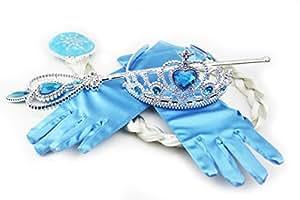 HXL Frozen Elsa Inspired Snow Queen Princess Tiara Braid Wand Blue Gloves Set of 4