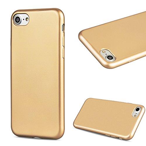 GrandEver iPhone 6 Hülle, iPhone 6S Hülle Silikon Schutzhülle Einfarbig Serie Flexible TPU Gel Schutz Klar Handytasche Anti-Kratzer Stoßdämpfung Ultra Slim Matte Rückseite Silicon Case Backcover Prote Gold