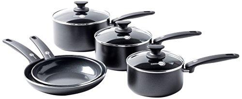 GreenPan Cambridge Ceramic Non-Stick Cookware, Aluminium, Black, 5 Pcs Set