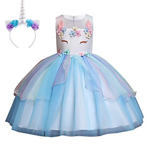 IWEMEK Mädchen Einhorn Kleid Stirnband Karneval Halloween Kostüm Cosplay Fancy Dress up Kinder Tüll Tutu Blumenmädchen Kleid Geburtstag Weihnachten Party Festzug Ankleiden Blau 11-12 Jahre