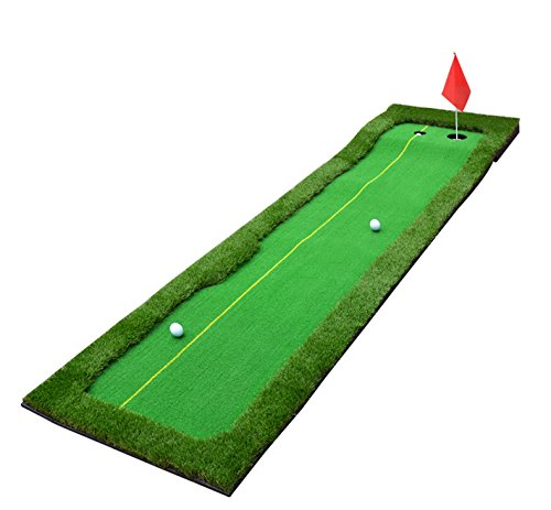 Tolako Professional Tragbare Golf Praxis Grün Lange anspruchsvoll Putting Green Sport Gummi-Putts Schubstange Putting Green Mat Golf Training Aid Equipment Puttingmatten