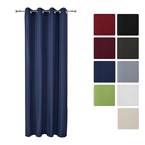 Beautissu Blickdichter Ösen-Vorhang Amelie - 140x245 cm Blau Uni - Dekorative Gardine Ösenschal Fenster-Schal