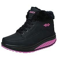 Siswong Women Chelsea Soft Bottom Lace Up Keep Warm Snow Boots Round Toe Sports Shoes Chukka Ankle Wellies Biker Walk Rain School Work Party Walking Buckle Flat Plus Size