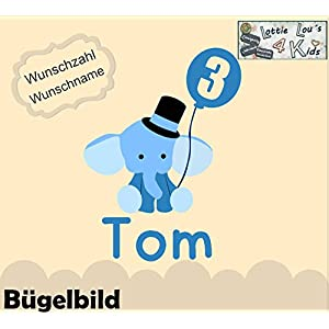 Bügelbild Geburtstag Aufbügler Elefant mit Luftballon mit Name und Zahl in Flex, Glitzer, Flock, Effekt in Wunschgröße