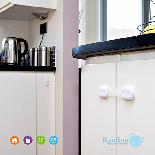 BooBoo Child/ Baby Safety Cupboard Strap Locks Baby Proof Your Cabinets With No Trapped Fingers. Extra Easy Install, No Tools Needed – 6 Pack