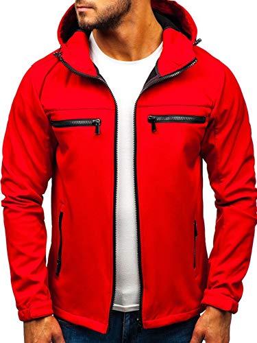 BOLF Herren Softshell Funktionsjacke Kapuze Fleecefutter Outdoor Sportlicher Stil J.Style 56003 Rot L [4D4] -