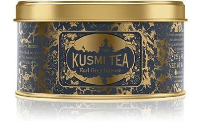 Kusmi Tea - Thé Earl Grey Intense - Thé noir aromatisé à la bergamote avec des écorces de citron - Mélange conditionné en France - Boîte métal 125g - Environ 50 tasses