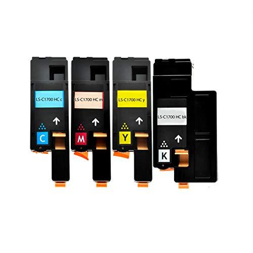 4 Toner für Epson C1700 1-1-1-1 - BK, 2000 Seiten,Color je 1400 Seiten ,kompatibel -