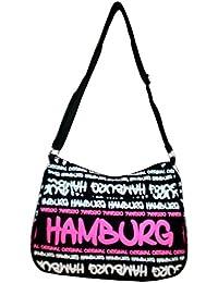 051aedb2f23ea Robin Ruth Canvas kleine Umhängetasche HAMBURG in schwarz neon pink (Maße   LxHxT 28x20x8