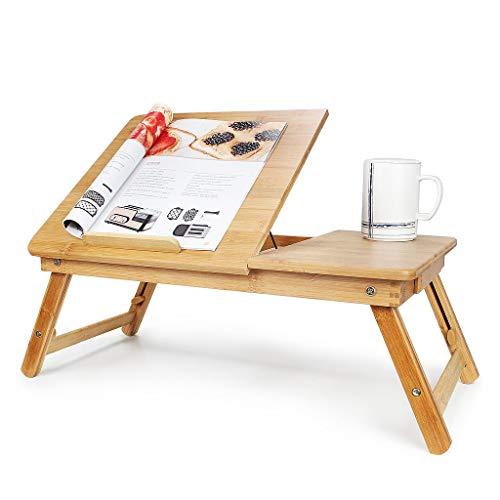 Todeco - Tragbarer Notebook-Tisch, Bett-Tisch - Material: Bambus - Größe der Tischplatte: 55,1 x 35,1 cm - Verstellbarer Tisch mit großer Belüftung - Stand Adjustable Keyboard Tray