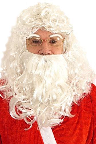 Herren Weihnachtsmann Haare - Bart Perücke Eyebrows Alter Mann Großvater Kostüm Kleid Outfit Zubehör - Alter Mann Bart Haar Kostüm