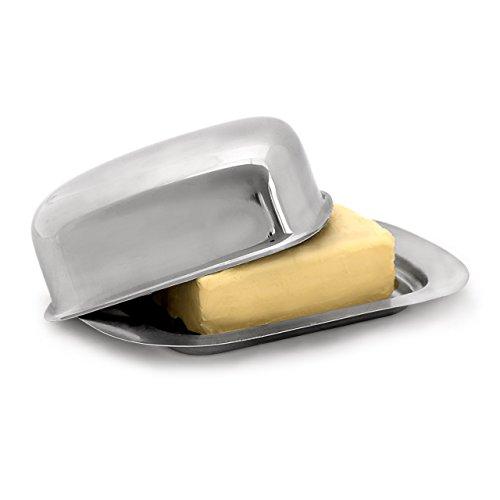 Relaxdays Beurrier en Acier Inoxydable Argent HxlxP: 6 x 19 x 13 cm boîte à beurre format 250 g ou boîte à fromage frigo conservation avec couvercle, argenté