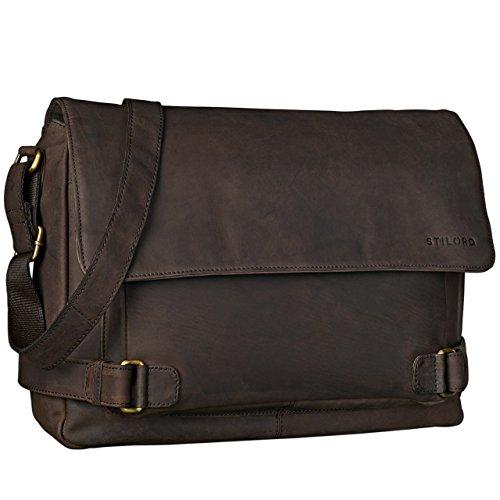 STILORD 'Luca' Leder Businesstasche 15,6 Zoll Laptop Messenger Bag Vintage Aktentasche Umhängetasche Schultertasche Unisex Echtleder, Farbe:matt - dunkelbraun (Laptop-aktentaschen Stilvolle)
