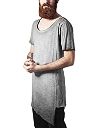 Urban Classics Asymetric Long Spray Dye Tee, T-Shirt Homme