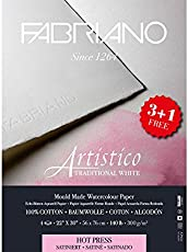 Fabriano Artistico Traditional White Watercolour Paper Hot Pressed 300 gsm (3+1 free) 22 inch X 30 inch
