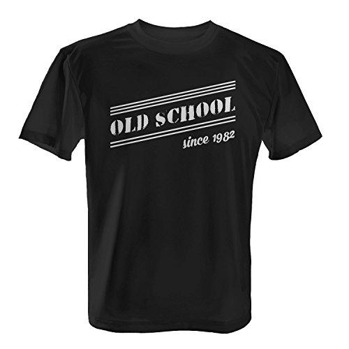 Fashionalarm Herren T-Shirt - Old School Since 1982   Fun Shirt mit coolem Motiv als Geschenk Idee zum 35. Geburtstag Jubiläum Schwarz