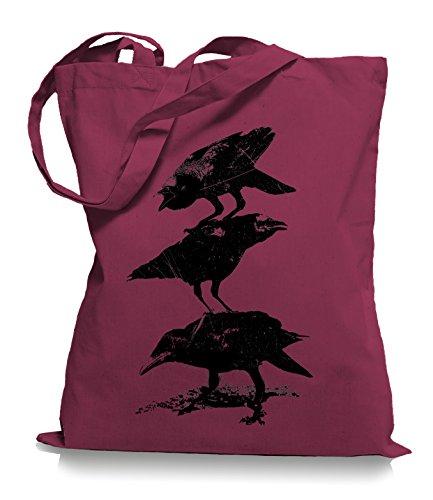 Ma2ca® Crows Krähen - Jutebeutel Stoffbeutel Tragetasche / Bag WM101 Cranberry