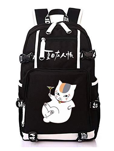 Cosstars Natsume Yuujinchou Anime Backpack Schüler Schultasche Laptop Rucksäcke Freizeittasche Daypack Schwarz-26