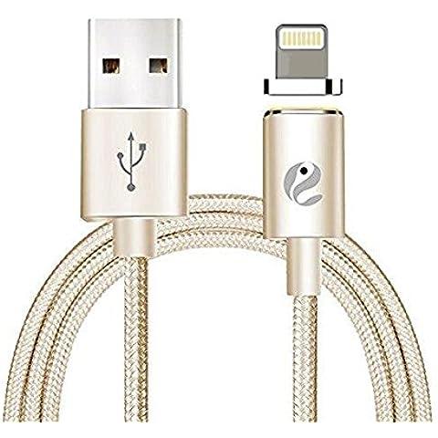 Cavo Lightning Magnetico, Hizek Magnetico 2nd Nylon USB Dati di Ricarica Cavo di Trasmissione per Apple iPhone, iPad, iPod (D'oro)