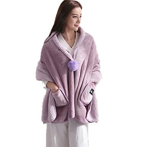 Ky&cl scialle per le donne (uomini) wrap scialle caldo, fatto di flanella e agnello, adatto per vivere room\bedroom\dormitories (rosa)
