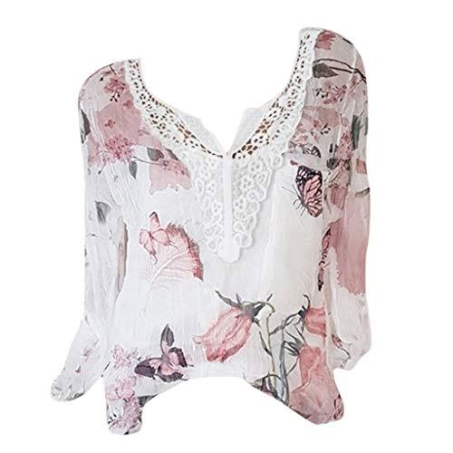 MOTOCO Damen Sommer V-Ausschnitt Blumendruck Button Down Chiffon T-Shirts Krawatte vorne Knoten Bluse Tops(M,Weiß)