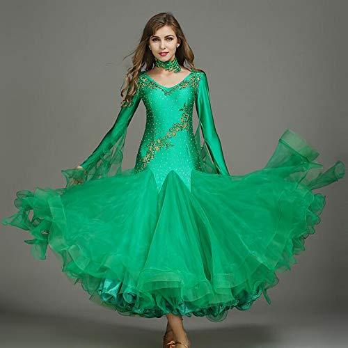 QMKJ 2018 Dance Kleid Pailletten Latin Bauchtanz Rock Walzer bestickte Farbe Diamant grüne Organza professionelle Tänzer Kostüm große Größe XL 2XL,S -