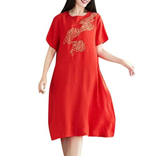 LILIHOT Frauen Vintage Print Kleid Damen O-Neck Kurzarm Strandkleid Casual Knielangen Sommerkleid Mode Shirt Kleider Retro Freizeitkleid Elegant Partykleid Rockabilly Knie-Kleid -